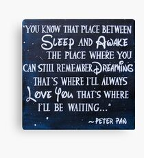 peter pan quote - painting Canvas Print