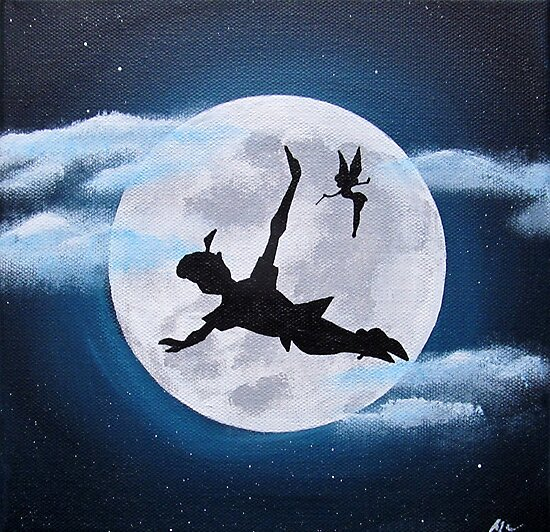 Quot Peter Pan Moon Acrylic Painting Quot Photographic Print By