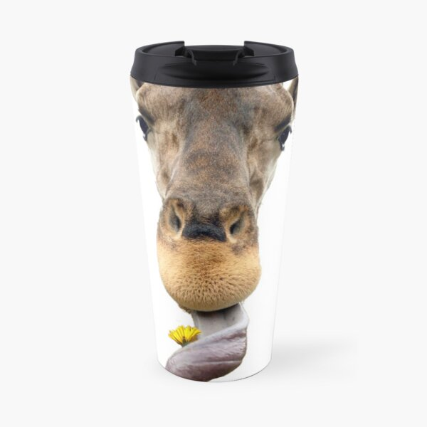 Who knew giraffes could pick flowers.  Travel Mug