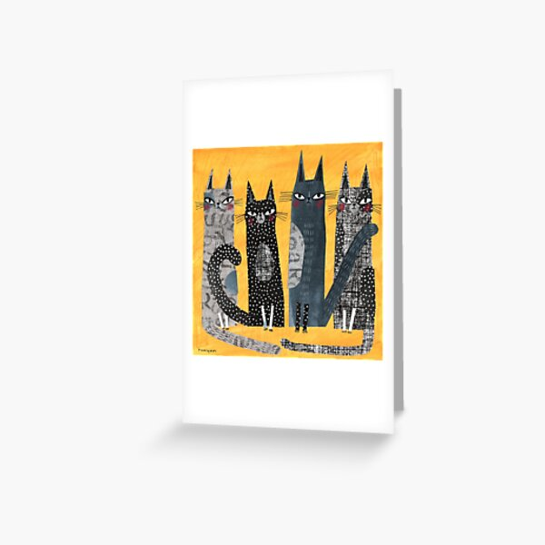 CATS ON YELLOW 2 Greeting Card