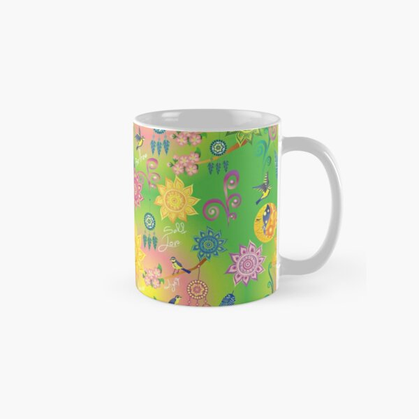 Neon Floral Mandala Dreamcatcher Feathers Cherry Blossom Psychedelic Self Love Pattern Classic Mug