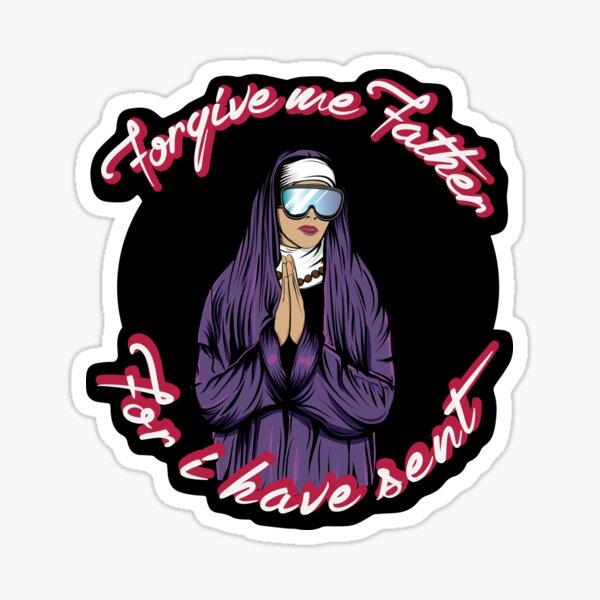 Forgive Me Father Send It Skiing Nun Sticker