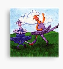 Two Cows Dancing Ballet Canvas Print