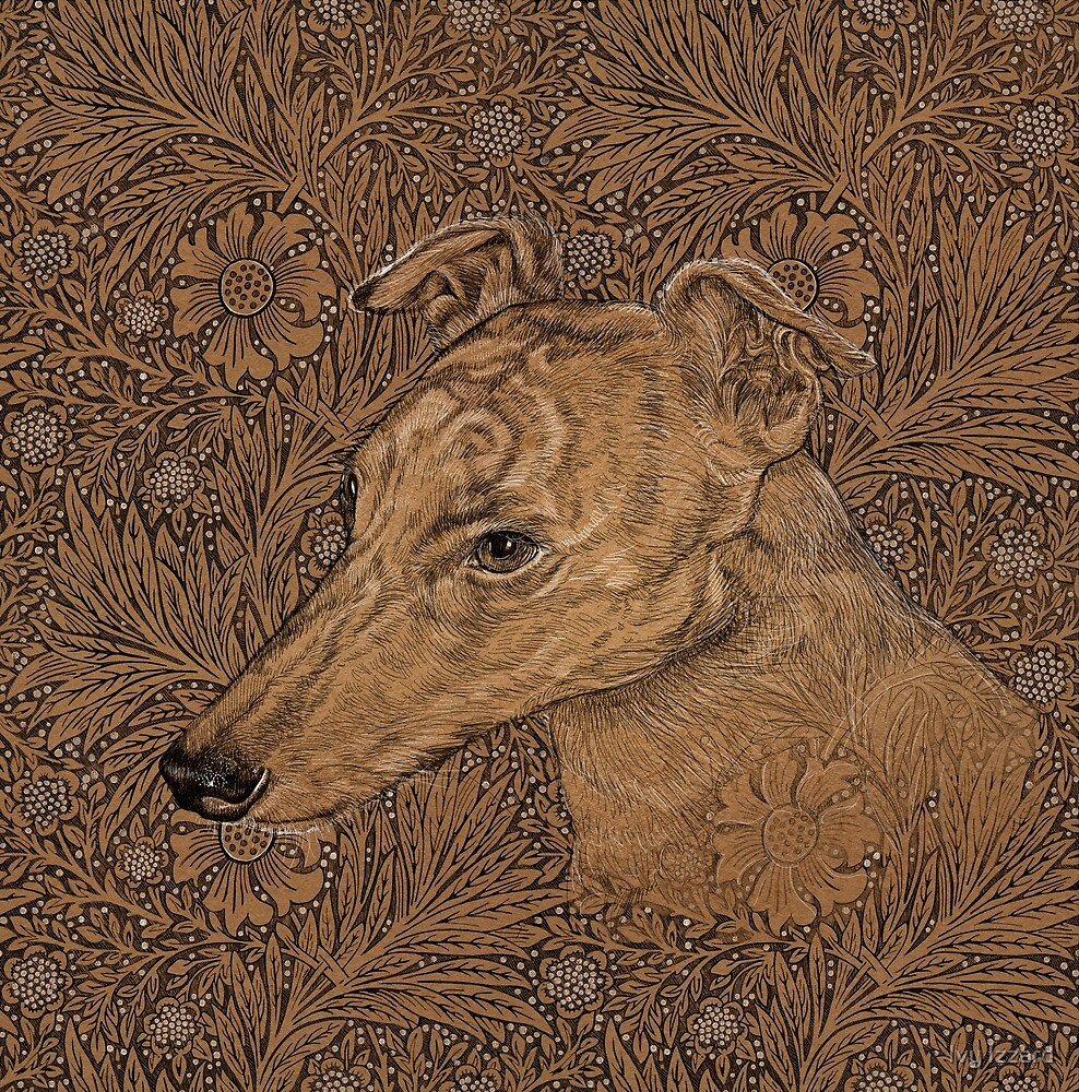 Yumi the greyhound on Morris marigolds by Ivy Izzard