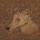 Yumi the greyhound on Morris marigolds by Ivy Izzard