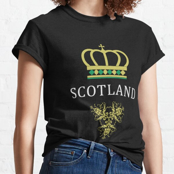 scotland gifts for men, scotland, vintage, proud, text, design, crown, damask, yellow, green, st patrick's day, scottis, present, birthdaygift, giftideas, gift Classic T-Shirt