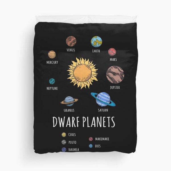 Dwarf Planets, Solar System With Sun, Pluto  Duvet Cover