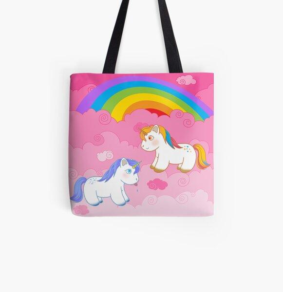 Licornes sur nuages roses Tote bag doublé