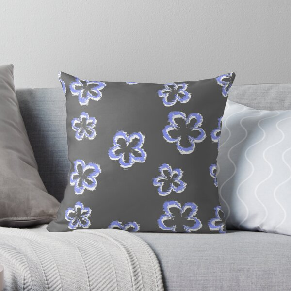 Funky Periwinkle Retro Glitch Flowers Sticker Pack Throw Pillow