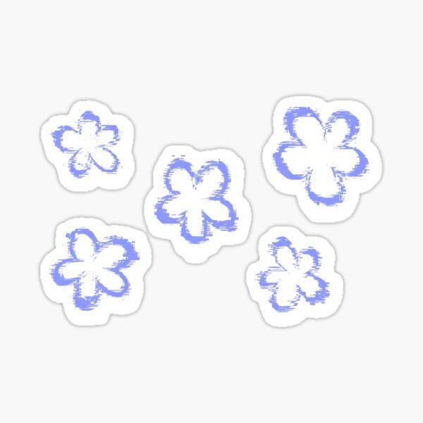Funky Periwinkle Retro Glitch Flowers Sticker Pack Glossy Sticker