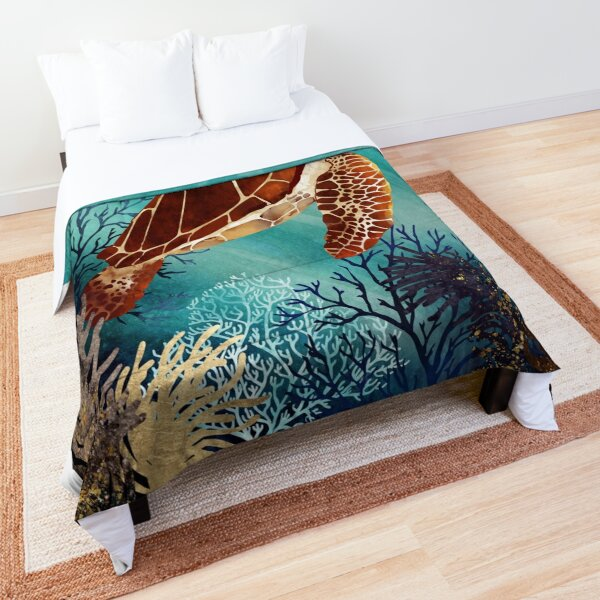 Metallic Sea Turtle Comforter