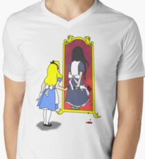 Camiseta de cuello en V Locura a través del espejo