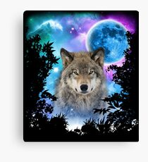 Timber Wolf MidNight Forest Canvas Print