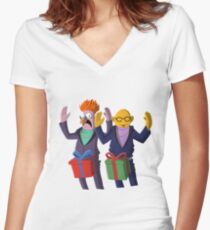 Beaker & Dr Bunsen - Dick in a box Women's Fitted V-Neck T-Shirt