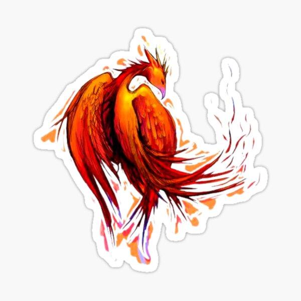 Fire Bird Drawing Sticker