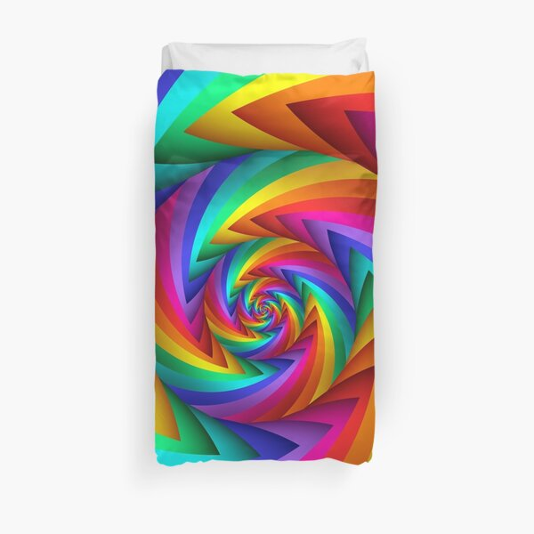 Rainbow Fractal Spiral  Duvet Cover
