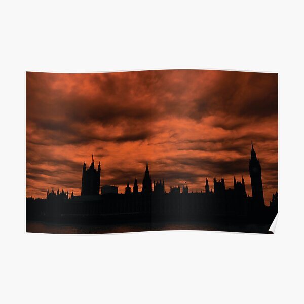Dramatic Houses of Parliament At Dusk With Orange Clouds Poster