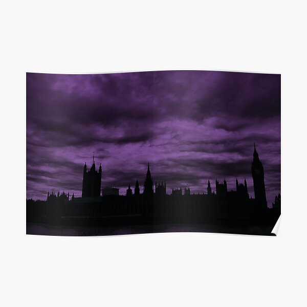 Dramatic Houses of Parliament At Dusk With Purple Clouds Poster