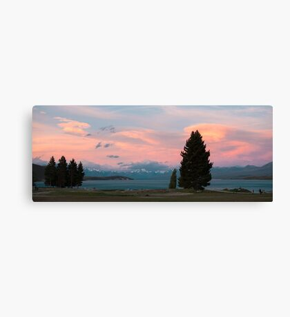 Pink Clouds Over Lake Tikapo Canvas Print