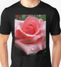 Pink Rose with Dew  Unisex T-Shirt