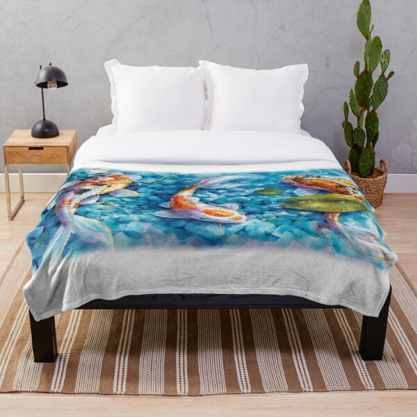 Tranquil Travelers- Koi Pond Watercolor Throw Blanket