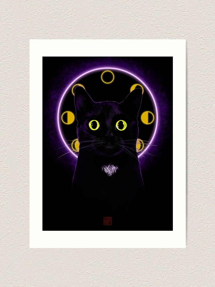 Alternate view of Witching Hour Black Cat Art Print