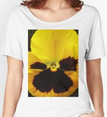Golden Black Eyed Pansy Violet Yellow Flower Women's Relaxed Fit T-Shirt