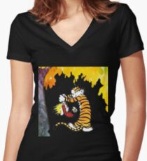 Calvin and Hobbes Playing  Women's Fitted V-Neck T-Shirt