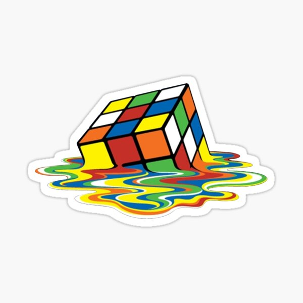 Melted Rubik's Cube Sticker