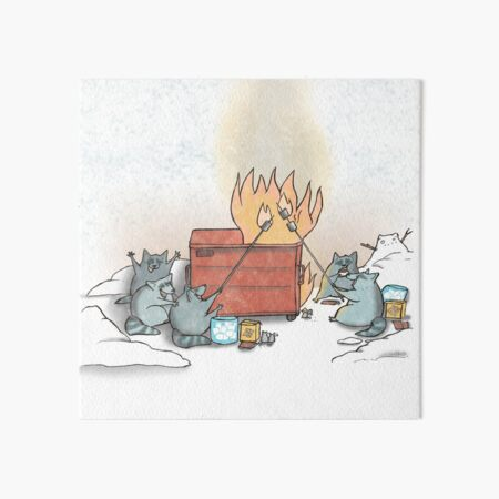 Raccoons Roasting Marshmallows by the Dumpster Fire  Art Board Print