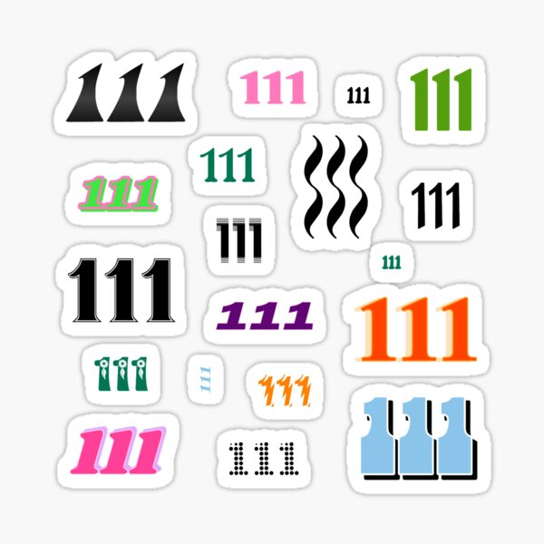 111 Angel Number Intuition Word Art Variety Pack (Colorful) Sticker