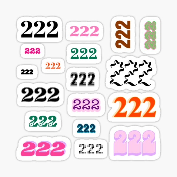 222 Angel Number Intuition Word Art Variety Pack (Colorful) Sticker