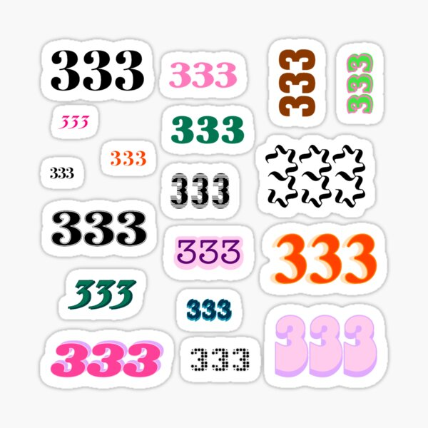 333 Angel Number Intuition Word Art Variety Pack (Colorful) Sticker