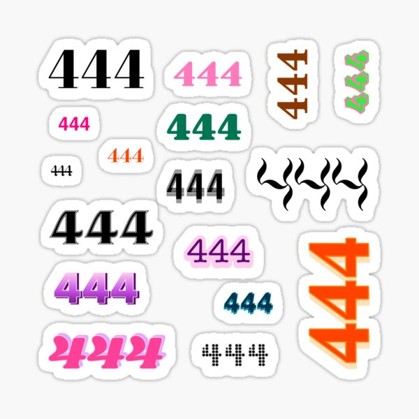 444 Angel Number Intuition Word Art Variety Pack (Colorful) Sticker
