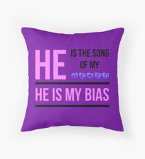 HE IS MY BIAS - PURPLE Throw Pillow