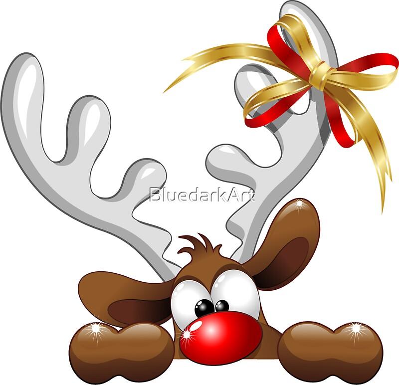 Quot Funny Christmas Reindeer Cartoon Quot Stickers By Bluedarkart