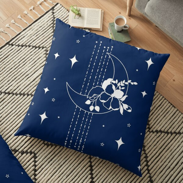 Mystic moon with flowers Floor Pillow