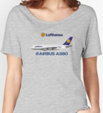 Illustration of Lufthansa Airbus A380 - Blue Version Women's Relaxed Fit T-Shirt