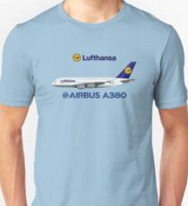 Illustration of Lufthansa Airbus A380 - Blue Version Unisex T-Shirt