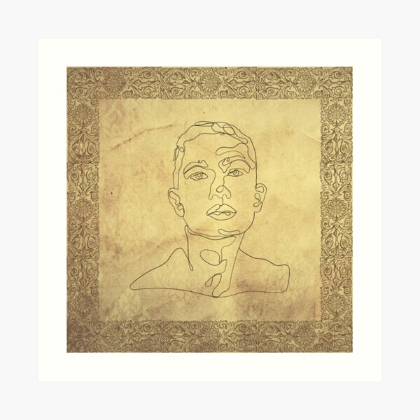 Antique - Monoline Man - Line art Art Print