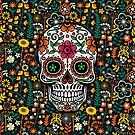Colorful Sugar Skull & Retro FlowersPattern Background by artonwear