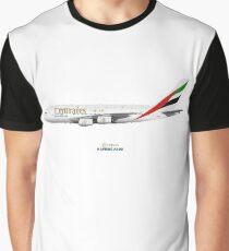 Camiseta gráfica Illustration of Emirates Airbus A380 - White Version