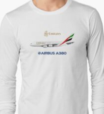 Illustration of Emirates Airbus A380 - White Version Long Sleeve T-Shirt