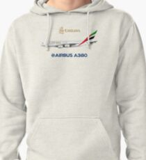 Illustration of Emirates Airbus A380 - White Version Pullover Hoodie