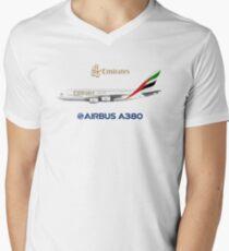 Camiseta para hombre de cuello en v Illustration of Emirates Airbus A380 - White Version