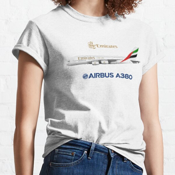Illustration of Emirates Airbus A380 - White Version Classic T-Shirt