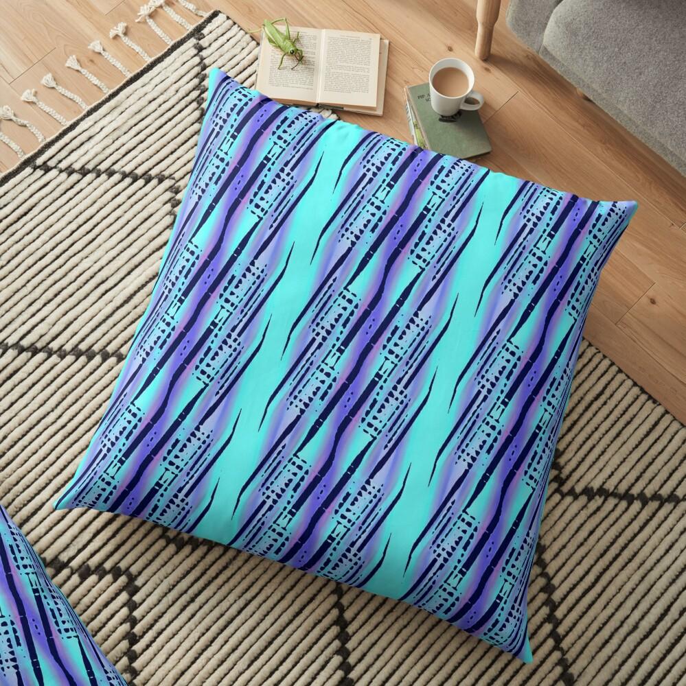 Modern Abstract Cyan Blue Pattern Design 1961 Floor Pillow