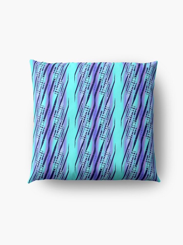 Alternate view of Modern Abstract Cyan Blue Pattern Design 1961 Floor Pillow
