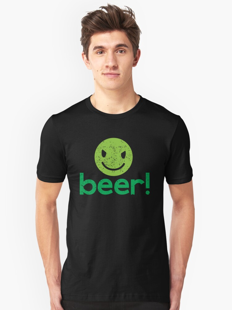 Beer! with cute evil smiley face Unisex T-Shirt Front