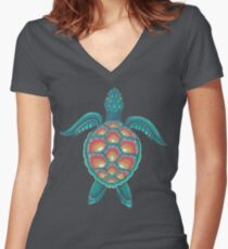 Mandala Turtle Women's Fitted V-Neck T-Shirt